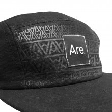 ARE. 5 PANEL CAP // BLACK - FRONT PRINT